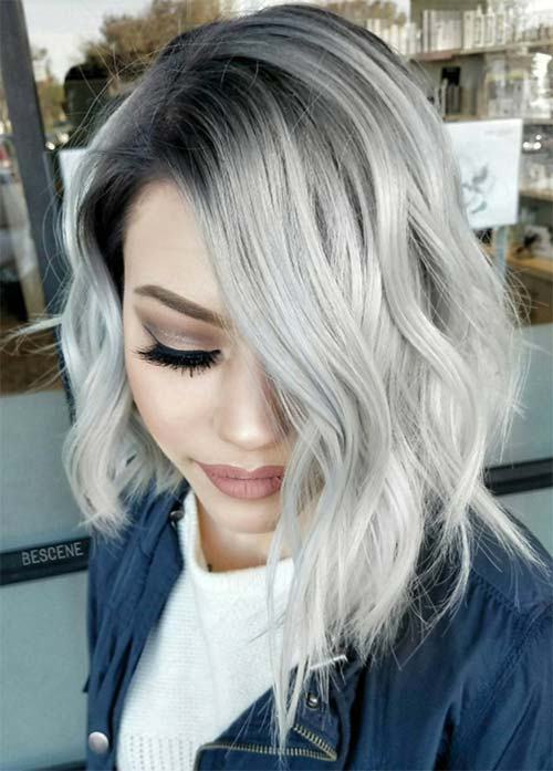 Granny Silver/ Grey Hair Color Ideas: Sterling Blonde Side Swept Curls