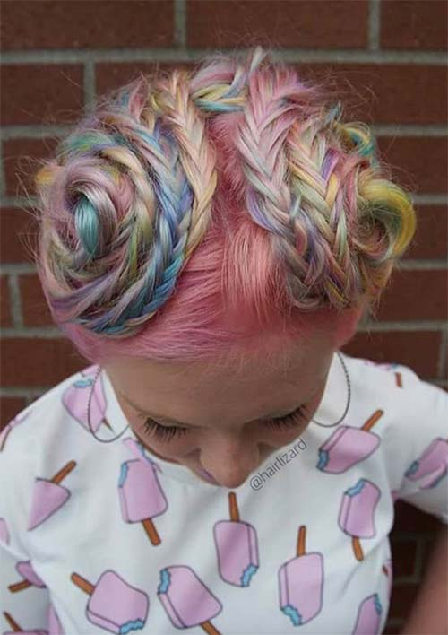100 Ridiculously Awesome Braided Hairstyles: Cotton Candy Braid Wraps
