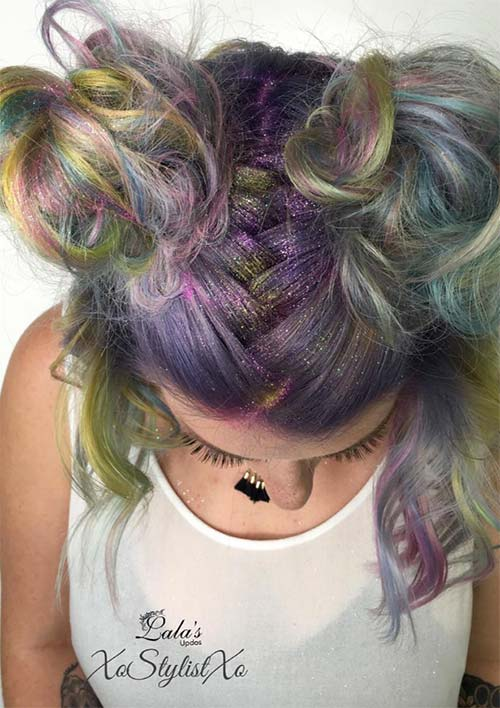 100 Ridiculously Awesome Braided Hairstyles: Buns with Braided Parting