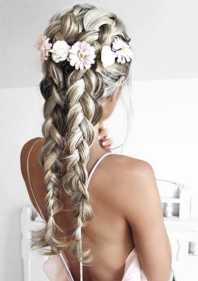 100 Ridiculously Awesome Braided Hairstyles: Silver Dutch Braids