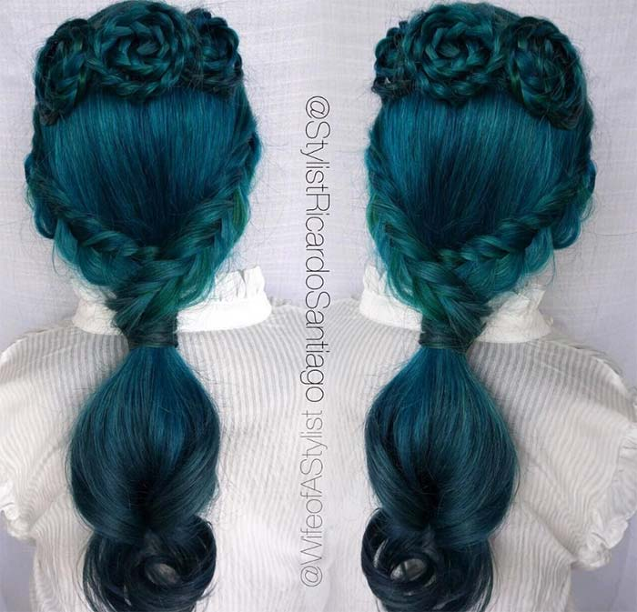 100 Ridiculously Awesome Braided Hairstyles: Teal Rosette Braids