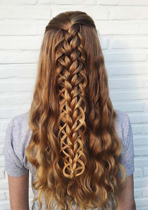 100 Ridiculously Awesome Braided Hairstyles: Half-Up Loop Braids