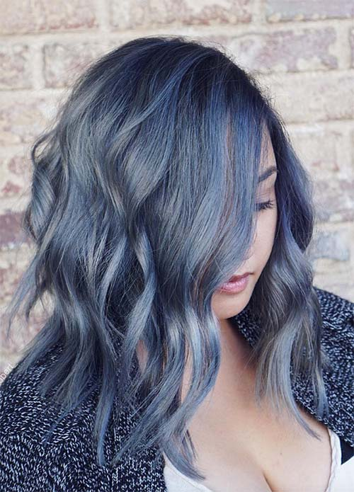 Blue Denim Hair Colors: Acid-Washed Wave Ombre