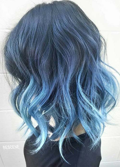 Blue Denim Hair Colors: Messy Arctic Jean Ombre