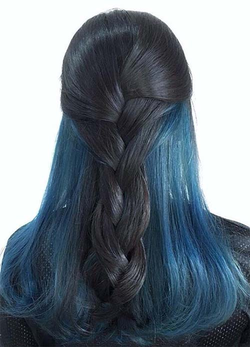 Blue Denim Hair Colors: Two-Tone Denim Dream Braid