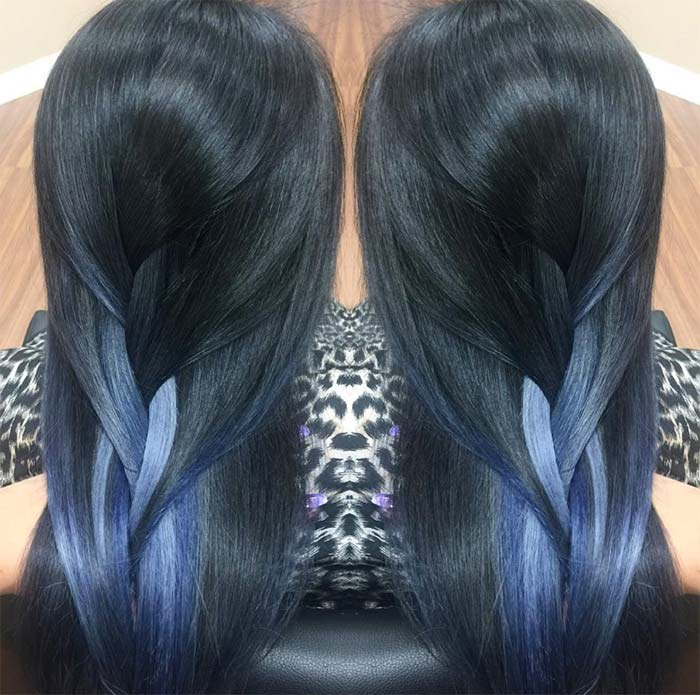 Blue Denim Hair Colors: Weaved Denim Braid
