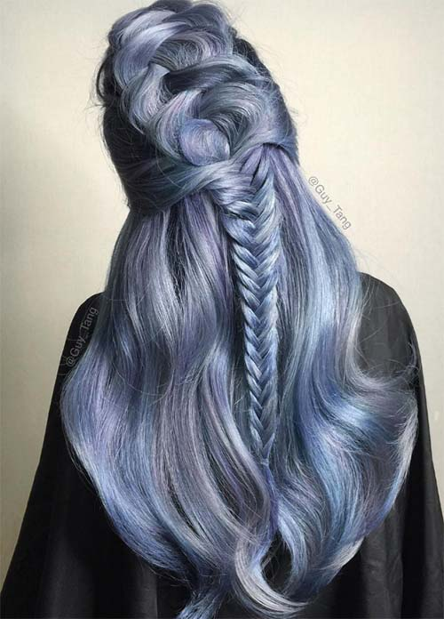 Blue Denim Hair Colors Aegean Demi Fishtail