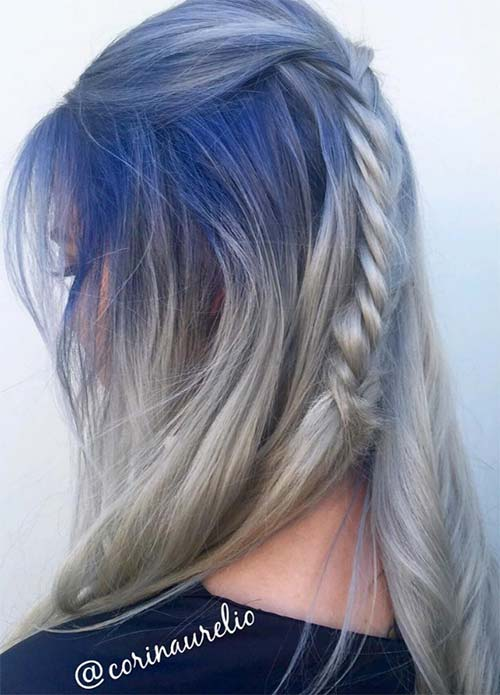 Blue Denim Hair Colors: Denim Steel Fishbraid