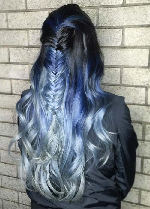 Blue Denim Hair Colors: Denim Mermaid Gradient Fishtail