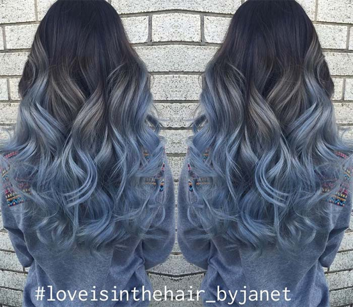 Blue Denim Hair Colors: Pastel Princess Balayage