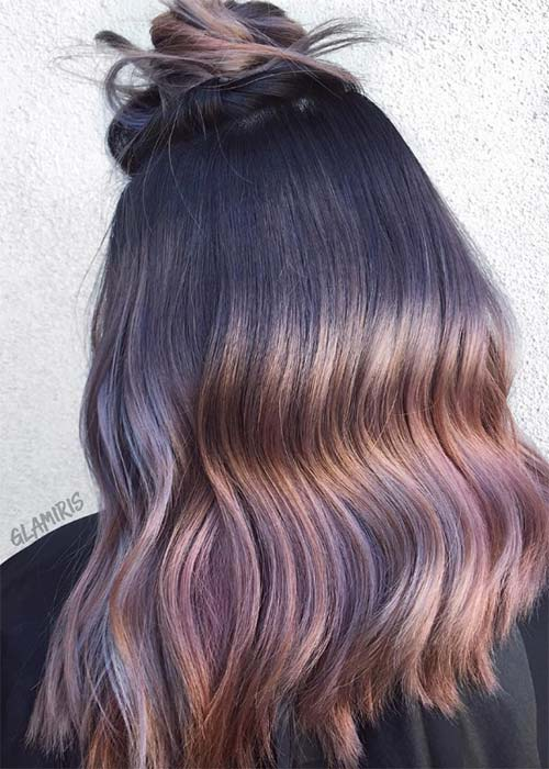 Lavender ombre brown hair