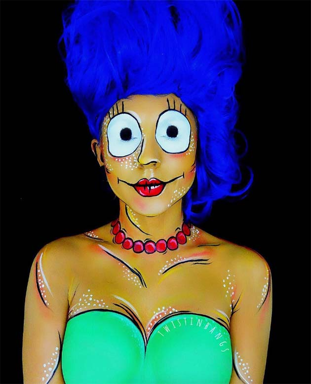 Creative Halloween Makeup Ideas: Marge Simpson Halloween Makeup