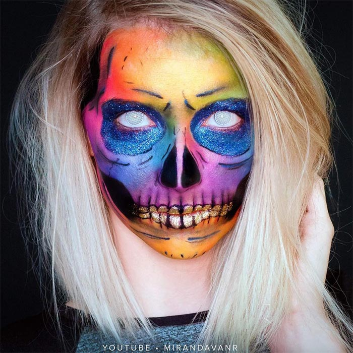 Creative Halloween Makeup Ideas: Colorful Skull Halloween Makeup