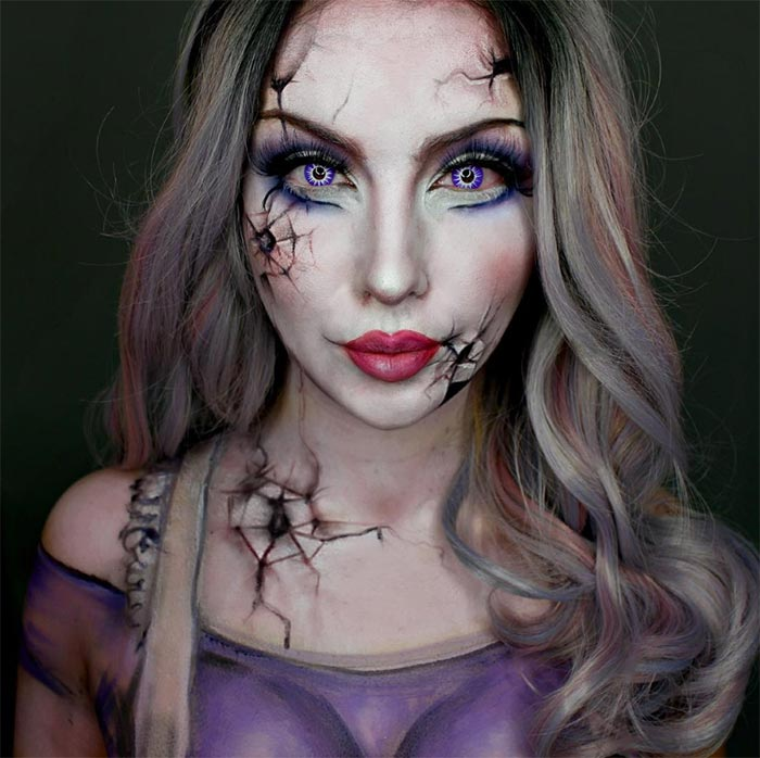 Creative Halloween Makeup Ideas: Zombie Doll Halloween Makeup