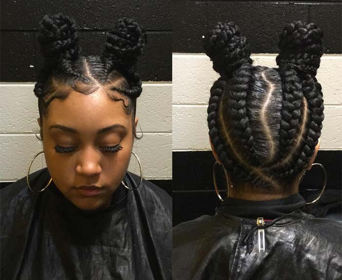 Big Cornrows Hairstyles For Afro American Women New