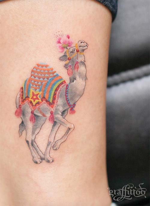 Ankle Tattoos Ideas for Women: Camel Ankle Tattoo