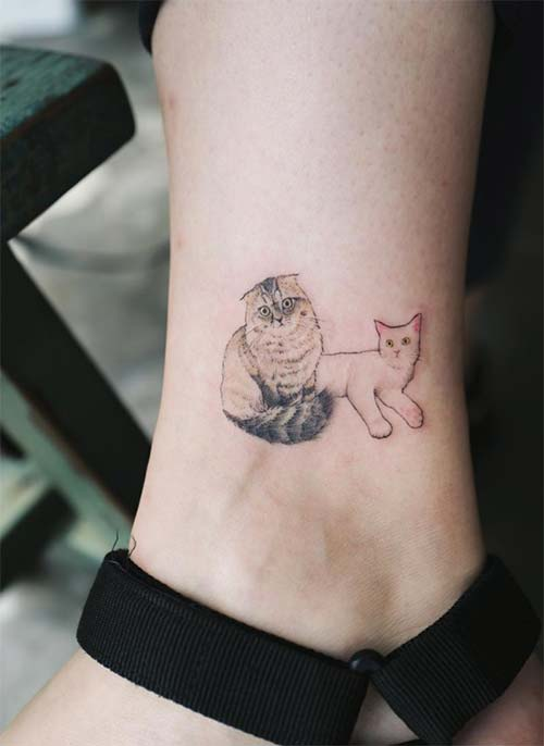 Ankle Tattoos Ideas for Women: Cat Friends Ankle Tattoo