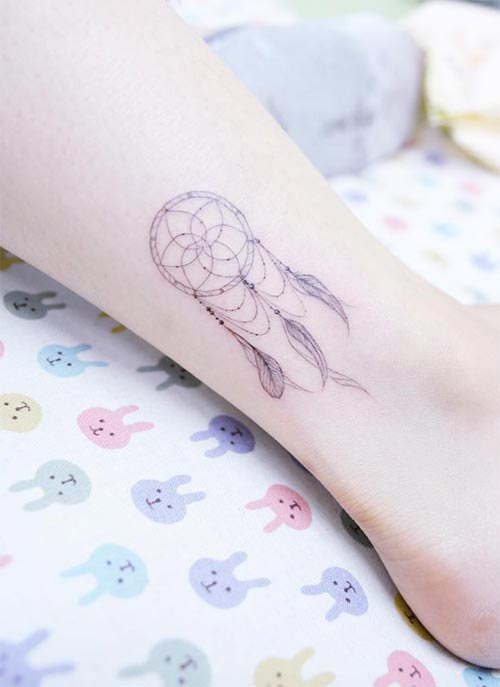 Ankle Tattoos Ideas for Women: Dreamcatcher Ankle Tattoo