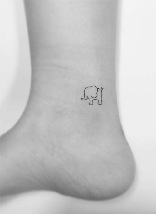 Ankle Tattoos Ideas for Women: Elephant Ankle Tattoo