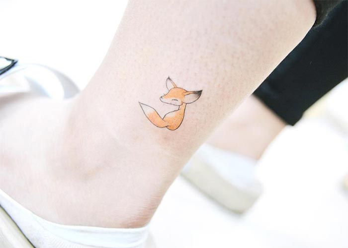 Ankle Tattoos Ideas for Women: Animated Fox Ankle Tattoo