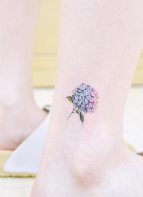 Ankle Tattoos Ideas for Women: Hydrangea Ankle Tattoo