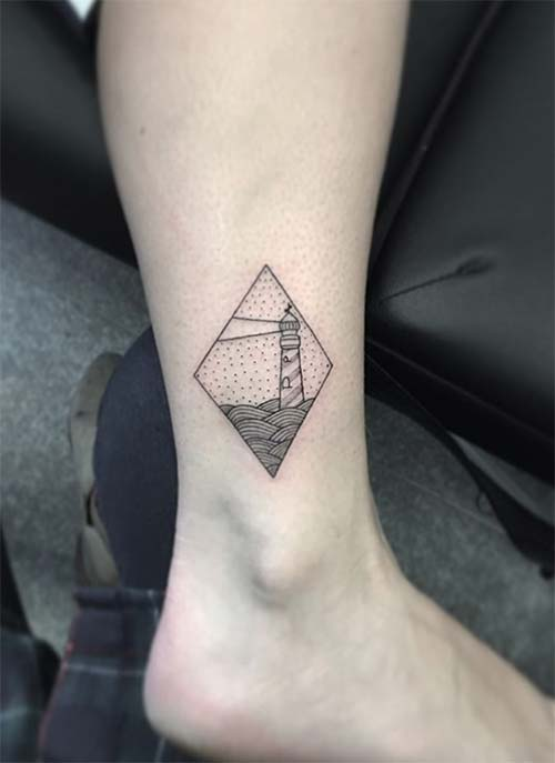 Ankle Tattoos Ideas for Women: Lighthouse Diamond Ankle Tattoo