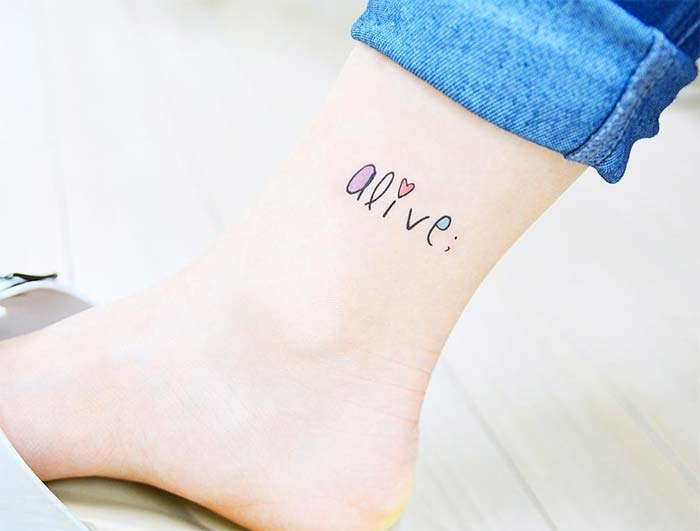 Ankle Tattoos Ideas for Women: Cute Font Ankle Tattoo
