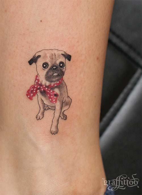 Ankle Tattoos Ideas for Women: Pug Ankle Tattoo