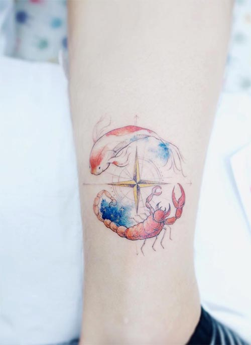 Ankle Tattoos Ideas for Women: Zodiac Compass Ankle Tattoo