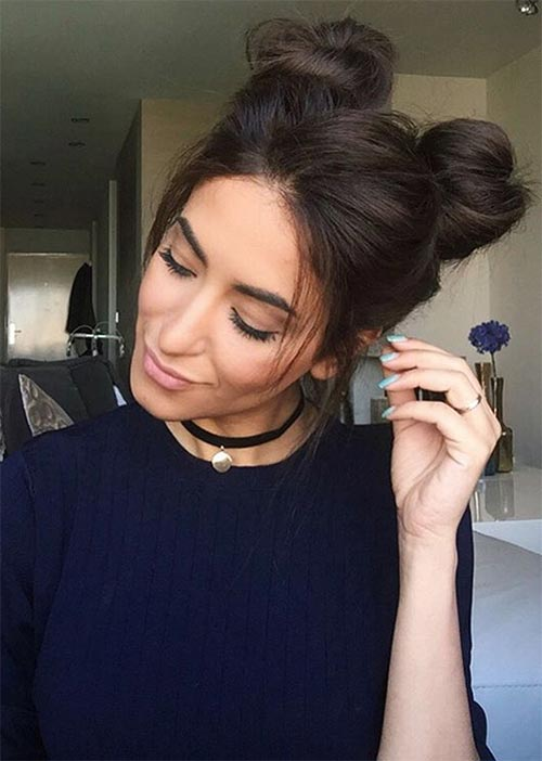 Pretty Holiday Hairstyles Ideas: Double Top Knots