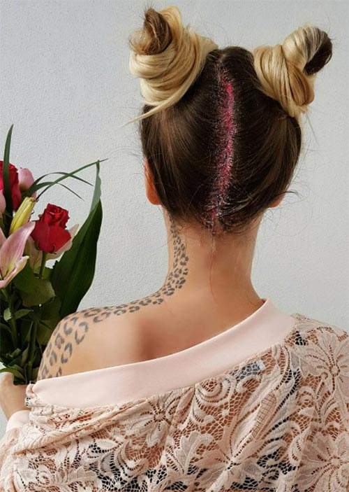 Pretty Holiday Hairstyles Ideas: Double top Knots with Glitter Roots