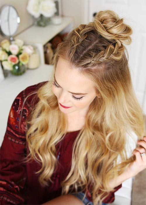 Pretty Holiday Hairstyles Ideas: Half-Up Dutch Braids
