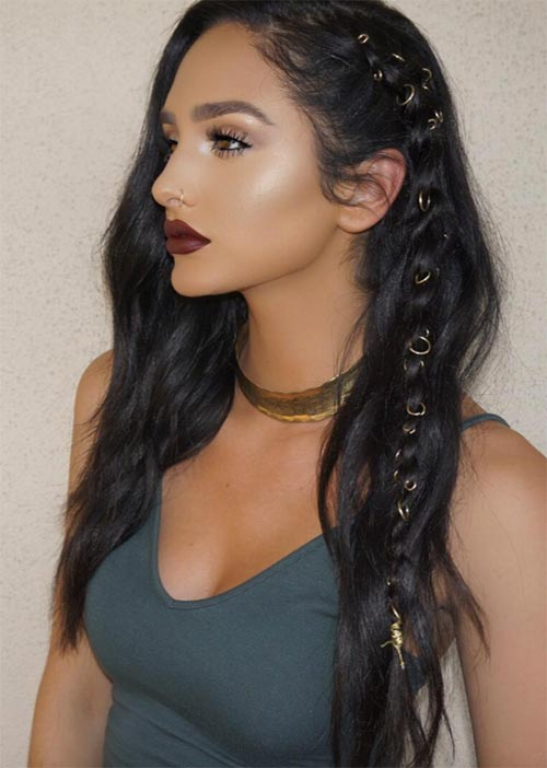 Pretty Holiday Hairstyles Ideas: Piercing Embellished Braided Boho Hair