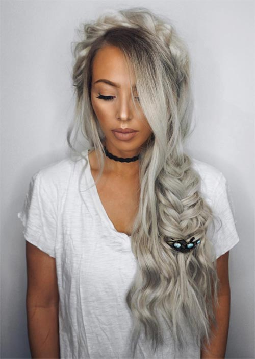 Pretty Holiday Hairstyles Ideas: Textured Braided Boho Hair
