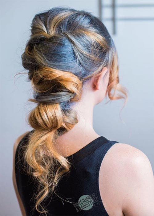 Pretty Holiday Hairstyles Ideas: Textured Wrap-Over Updo