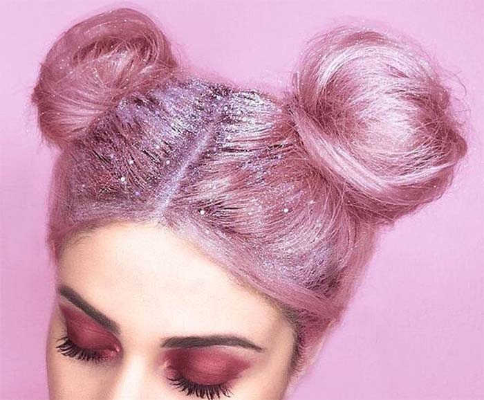 Glitter Hairstyles Ideas: Glitter Space Buns