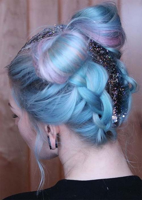 Glitter Hairstyles Ideas: Glitter Braided Space Buns