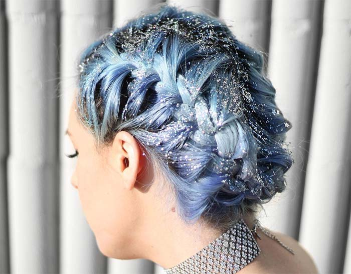Glitter Hairstyles Ideas: Glitter Tucked French Braid