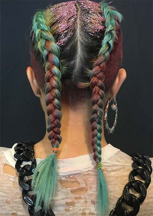 Glitter Hairstyles Ideas: Rainbow Glitter Boxer Braids