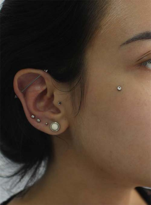 Types of Body Piercings: Ear Piercings - Industrial Piercing