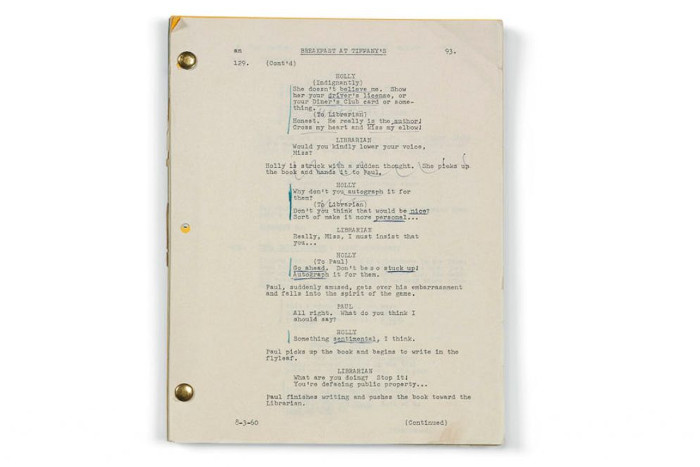Audrey Hepburn's Personal Belongings Up For Auction at Christie's Breakfast at Tiffany's Script