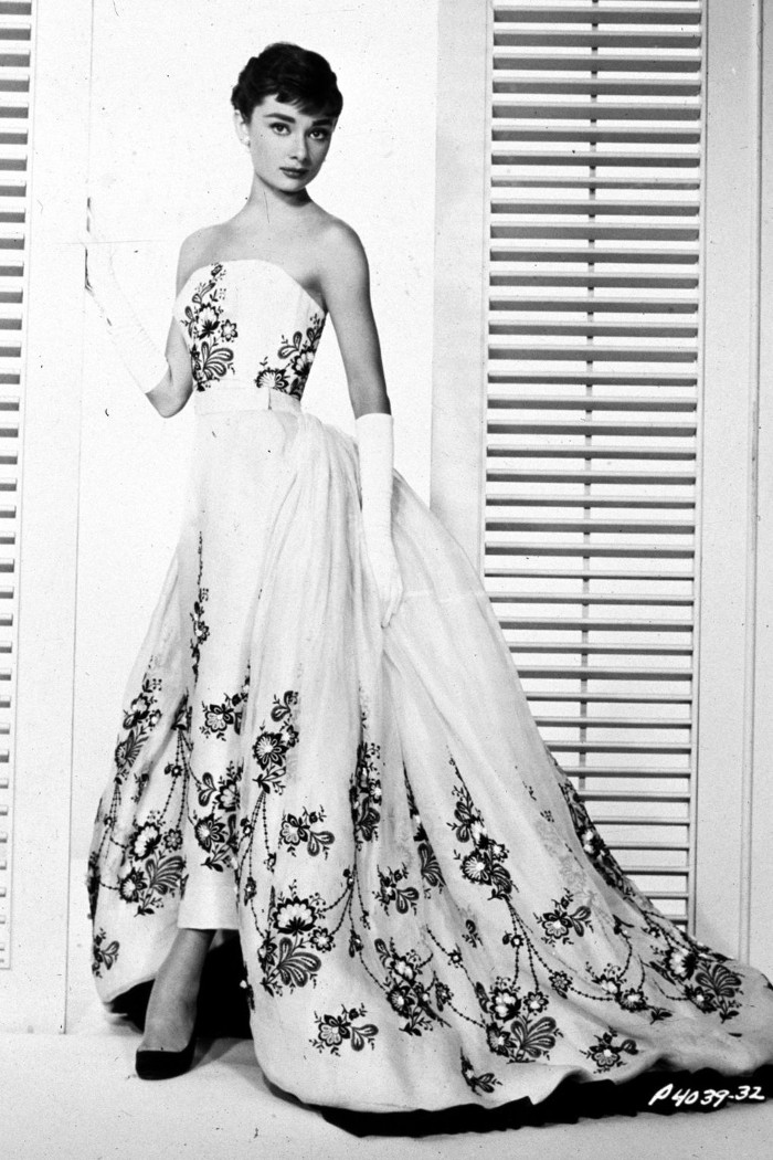 Audrey Hepburn's Personal Belongings Up For Auction at Christie's Long White Gown with floral embellishments