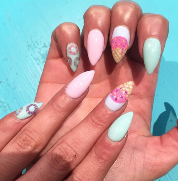 Best Summer Nail Designs for Summer 2017 ice cream nails donut nails