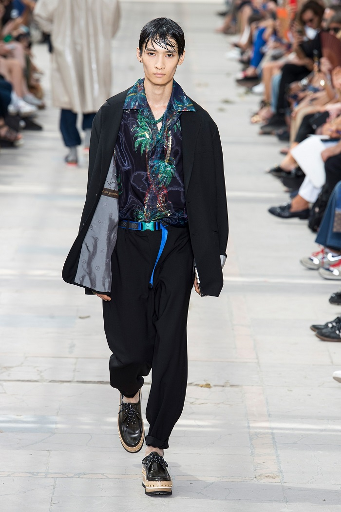 Louis Vuitton Men's Spring 2018 Collection aloha shirt black pants
