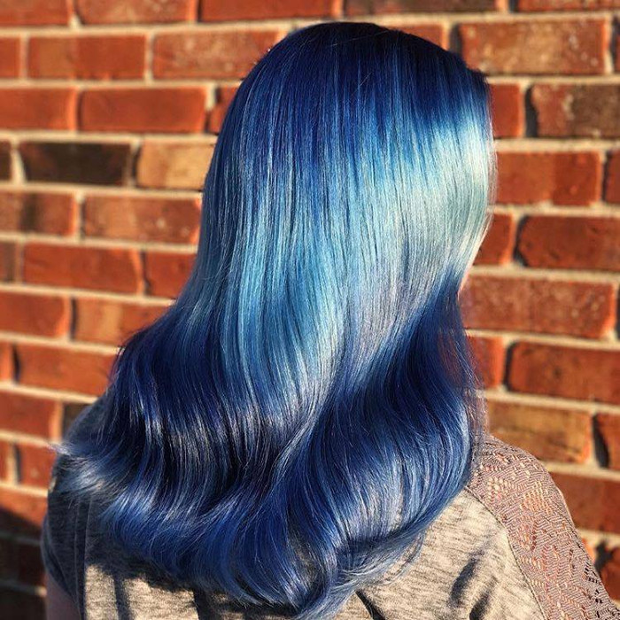 Ocean Hair Trend blue hair uniform waves
