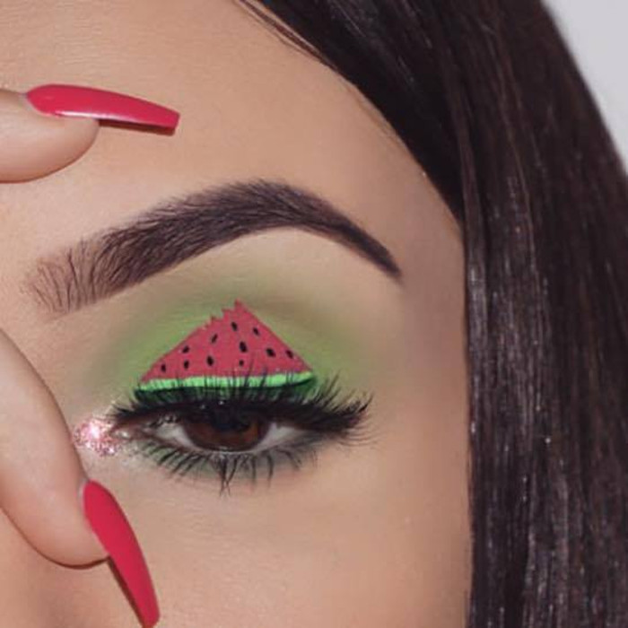 watermelon makeup Instagram trend watermelon eye makeup