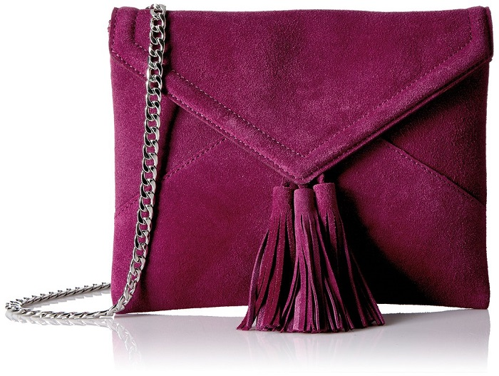 "Amazon Debuts ""The Fix"" a Stylish Shoe and Handbag Line purple bag"