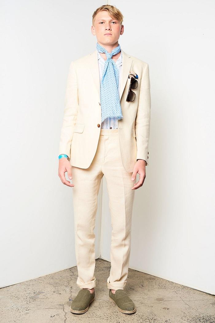David Hart Men's Spring 2018 Collection cream suit
