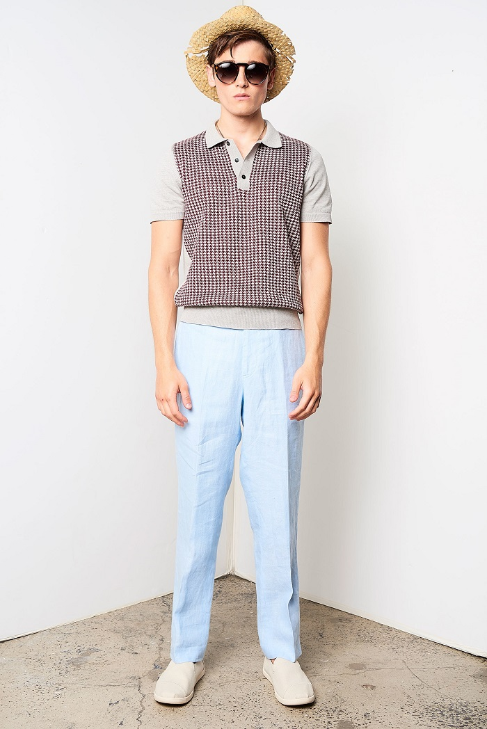 David Hart Men's Spring 2018 Collection blue pants knitted polo
