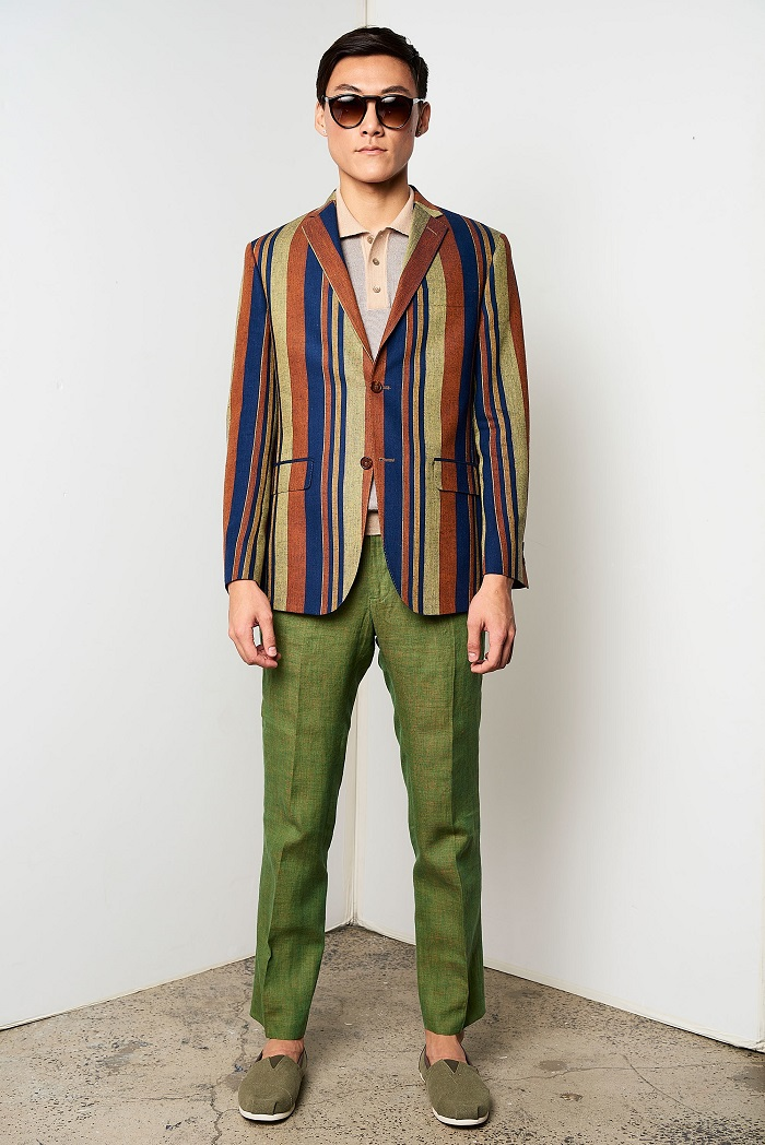 David Hart Men's Spring 2018 Collection striped blazed green pants
